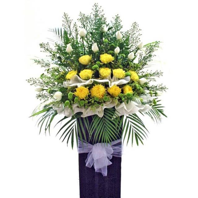 Yellow PomPom & White Roses in box Stand.