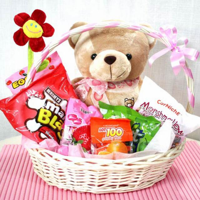 "14"" sitting Bear with Sweets in Basket"