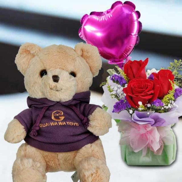 5 Inches Teddy Bear and a Heart-Shaped Balloon with 3 Roses Standing Bouquet