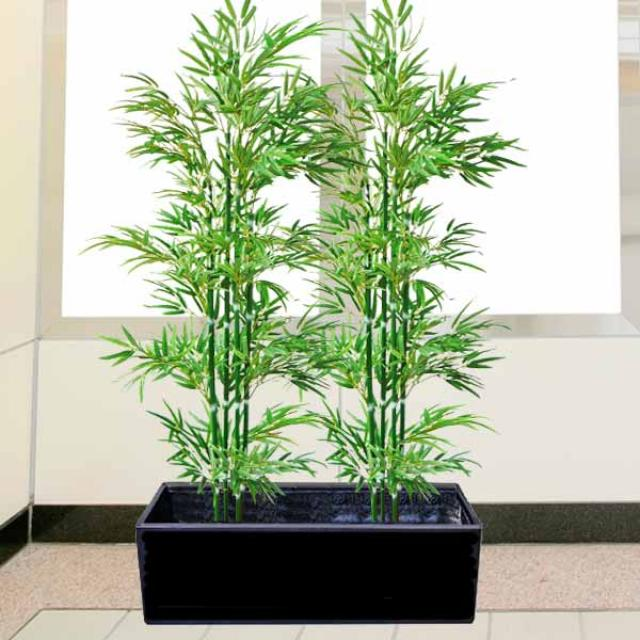 6 feet Bamboo artificial plants in 3 feet long Planter Box