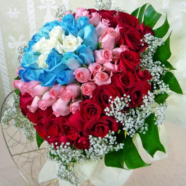 99 Roses ( 5white20blue33Peach41red ) Hand bouquet.