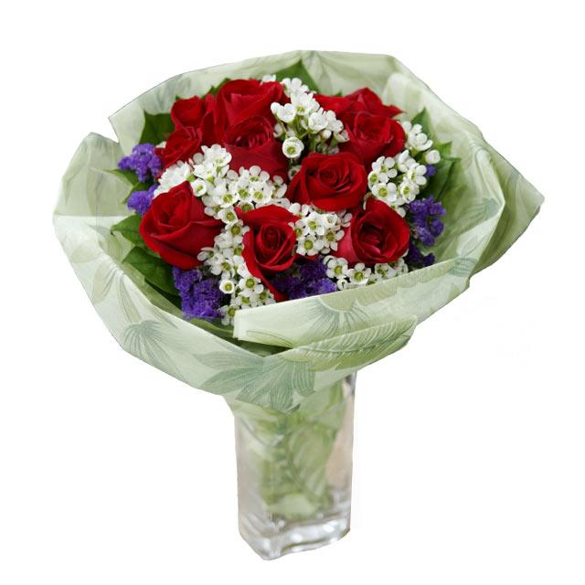 12 Red Roses with White Wax flowers and Forget-me-not Purple