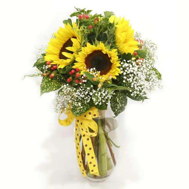 5 Sunflower with Glass Vase