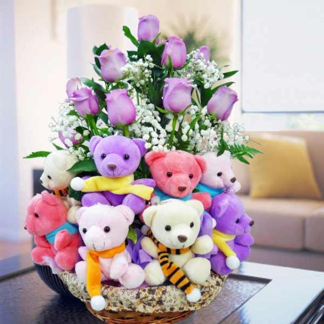 12 Purple Roses with 20 Mixed Color Bears in Basket