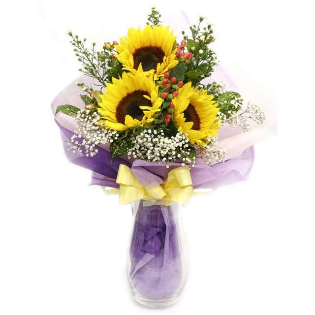 3 Sunflowers Hand Bouquet