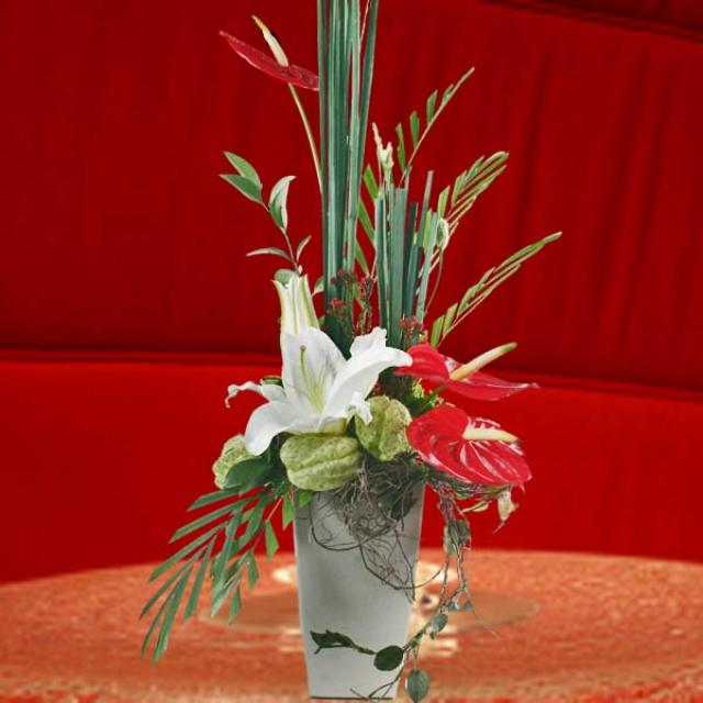 White Lilies & Anthurium Table Arrangement.