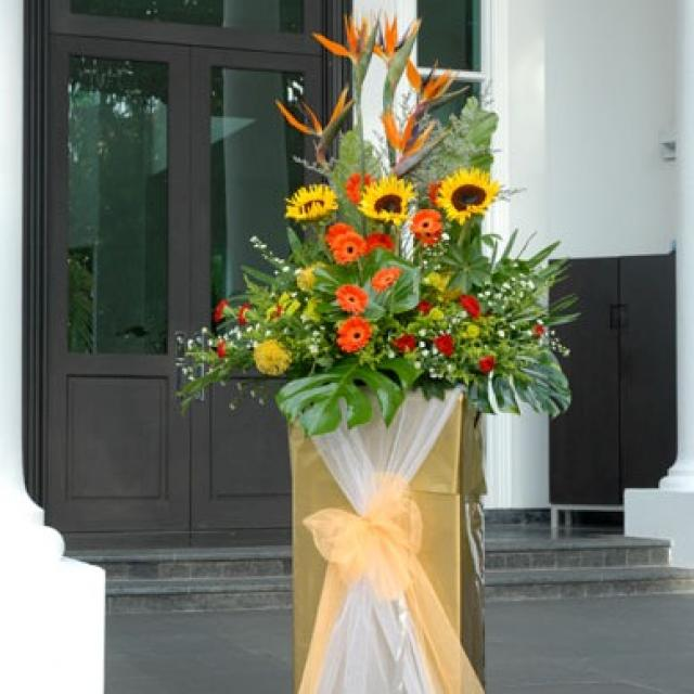 Bird of paradize with sunflower & Gerbera arranged in box stand 6' height