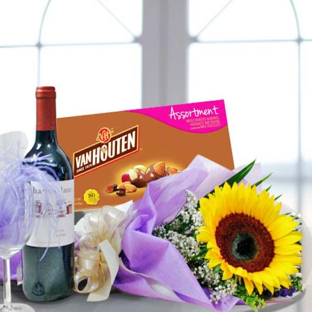 Sunflower Bouquet with Red Wine and Assorted Chocolate
