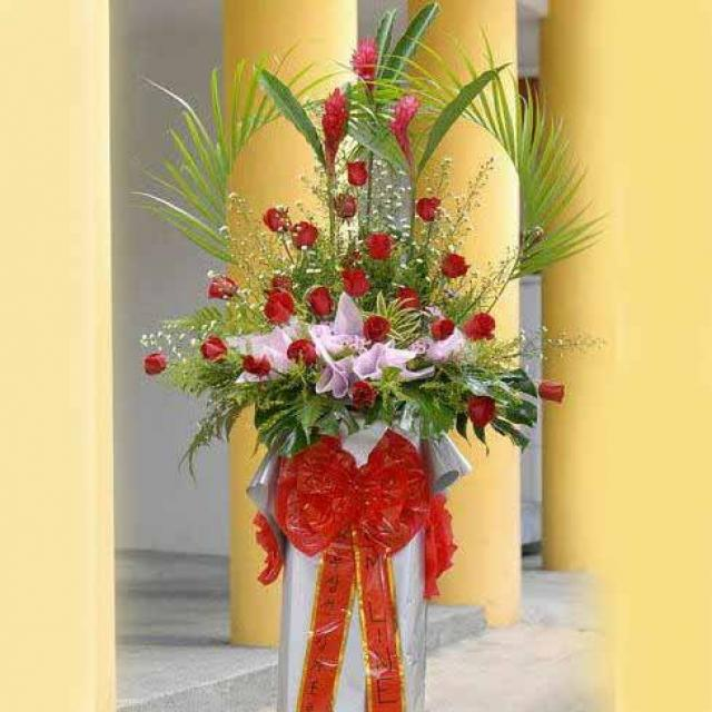 Red Ginger flower and Roses arrangement on Box stand 6' height