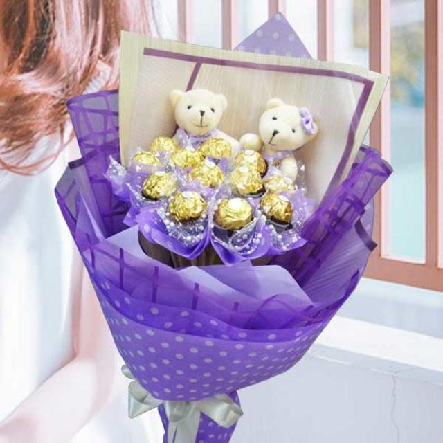 12 Ferrero Rocher & 2 Love U Bears Hand Bouquet