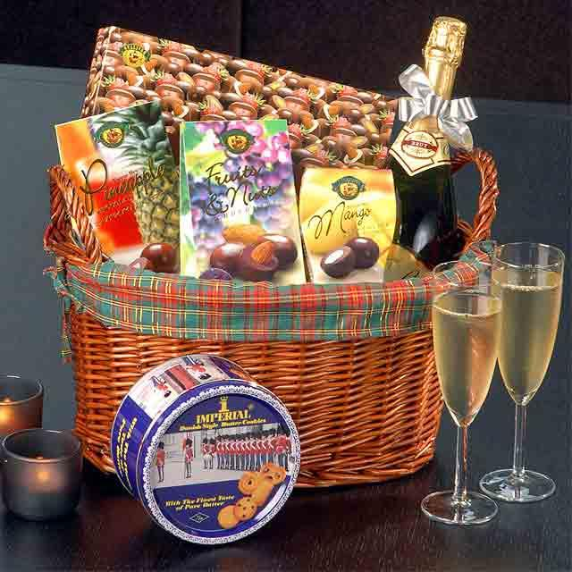 Champagne, cookies & 4 assorted chocolates in basket.