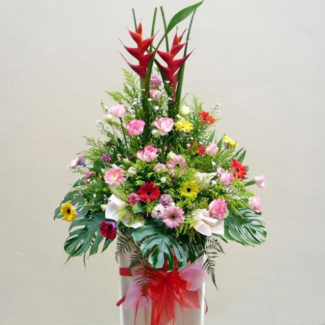 Mixed flower arrangement on Box Stand 6' height