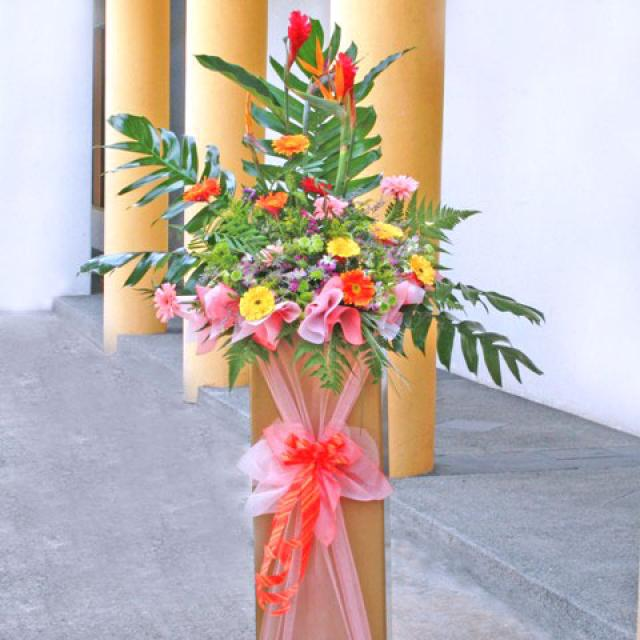 Bird of paradise with Mixed Gerbera Arranged on Box stand 6' height