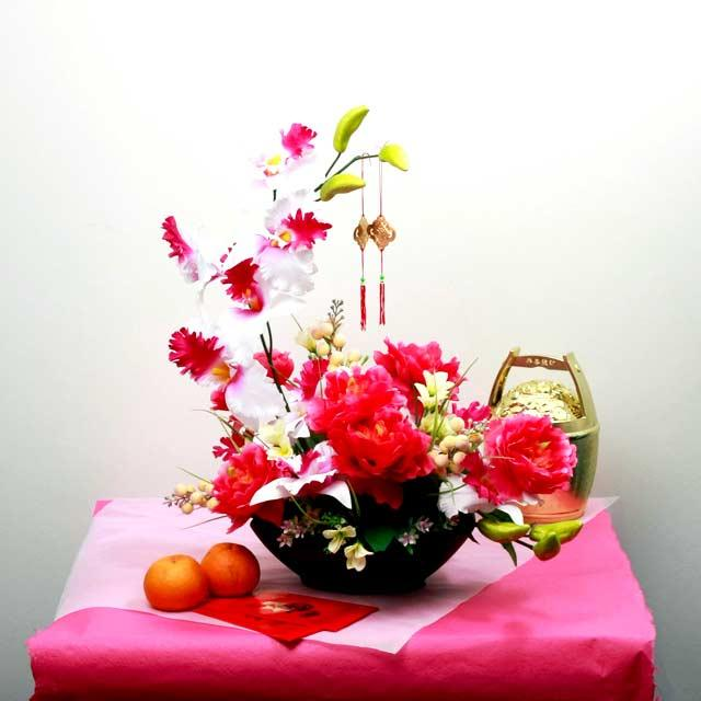 Artificial Peony with Orchid Table Arrangement