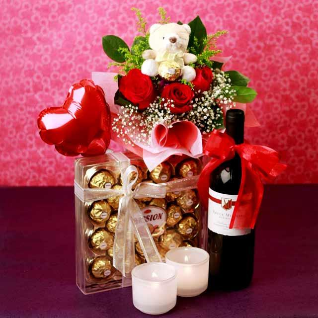 Red wine, chocolate, Heart shape Balloon with 3 Red Roses and Bear