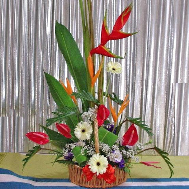 Tropical flowers mixed arrangement