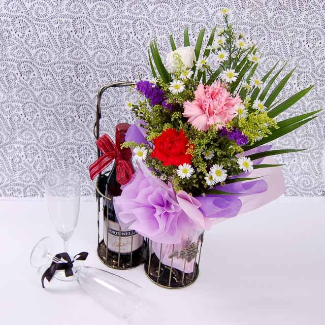 Carnations and Wine with Metal Stand