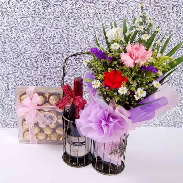 Carnation, Wine and Chocolates with Metal Stand