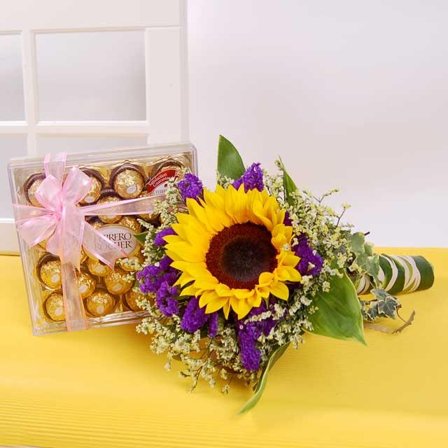 Sunflower bouquet with Chocolates