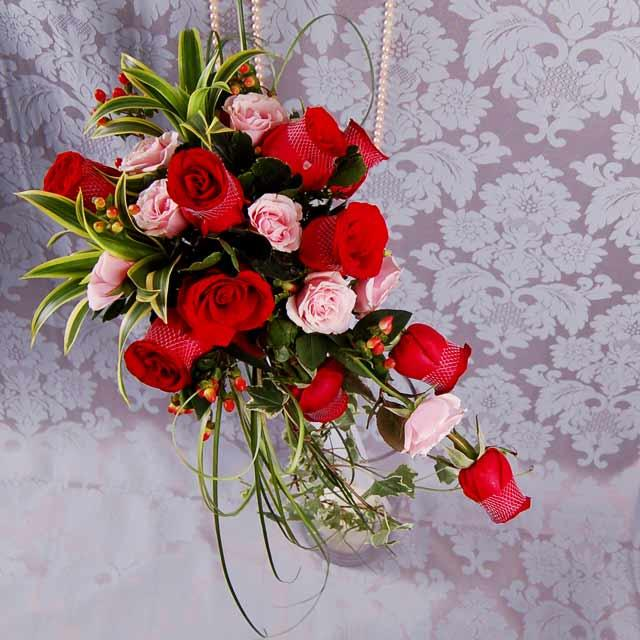 Red and Pink Roses in Wedding Bouquet