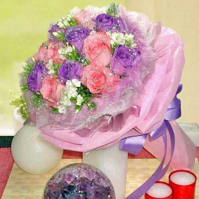 6 Purple and 6 Peach Roses Hand Bouquet with White Sweet Williams