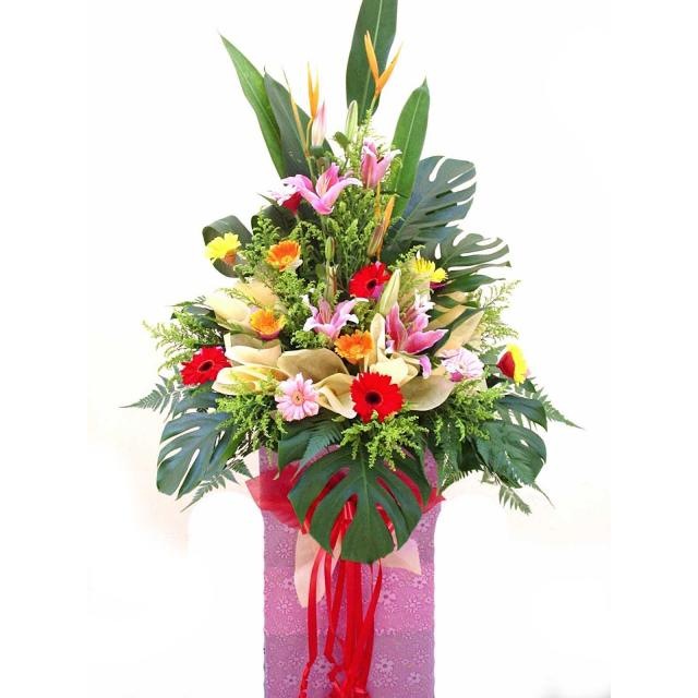 Lily Pink with Mixed Gerbera 6 feet height