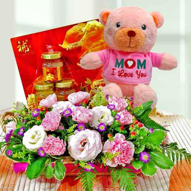 Pink Carnation with Bird's Nest 6 Bottles and 20cm Bear