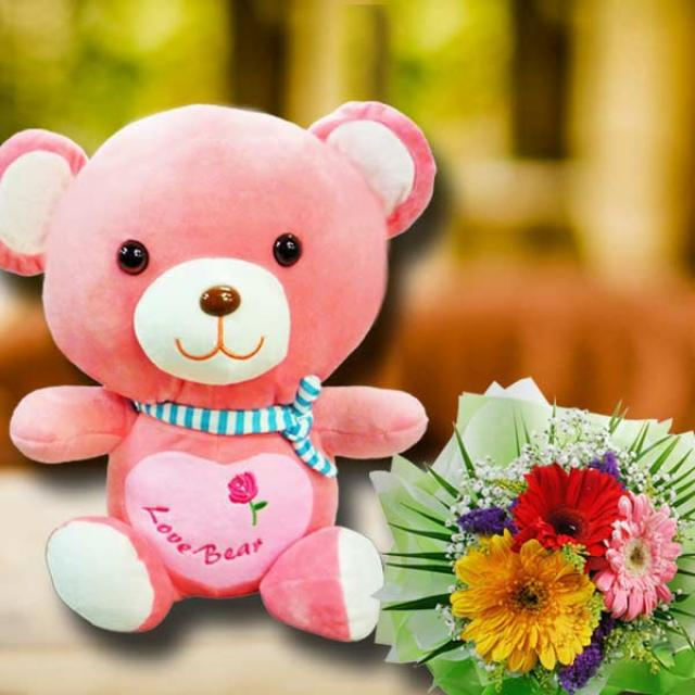 30cm Pink Bear With Gerbera Flowers Bouquet