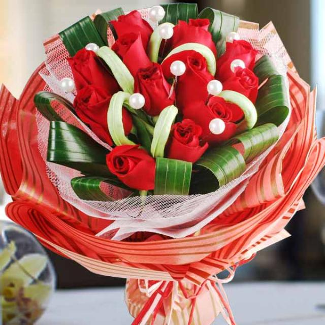 12 Red Roses with special wrapping