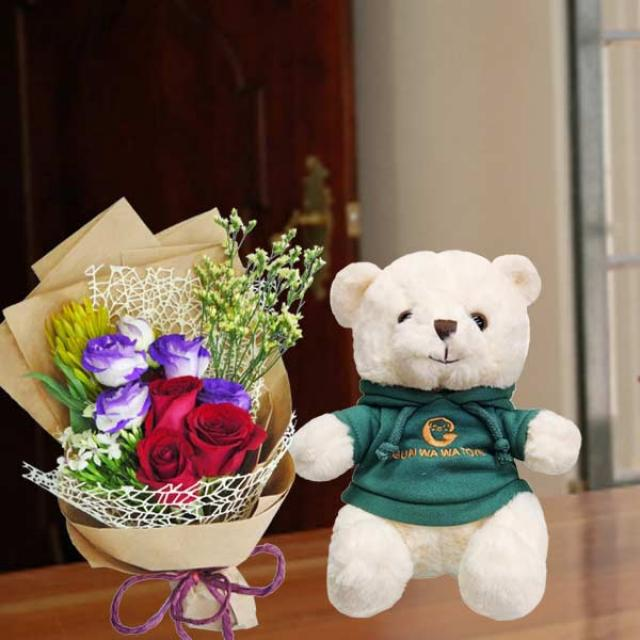 20cm Teddy Bear with 3 Red Roses HandBouquet