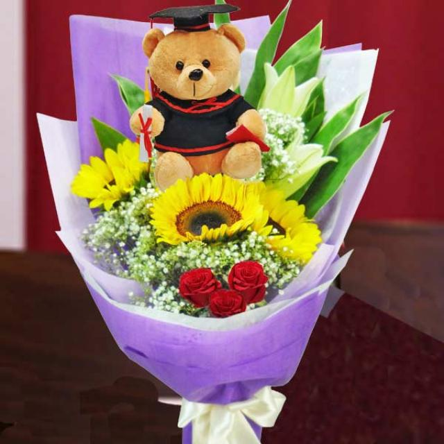 Graduate Bear 15cm With SunFlowers, Lilies & Roses Hand Bouquet