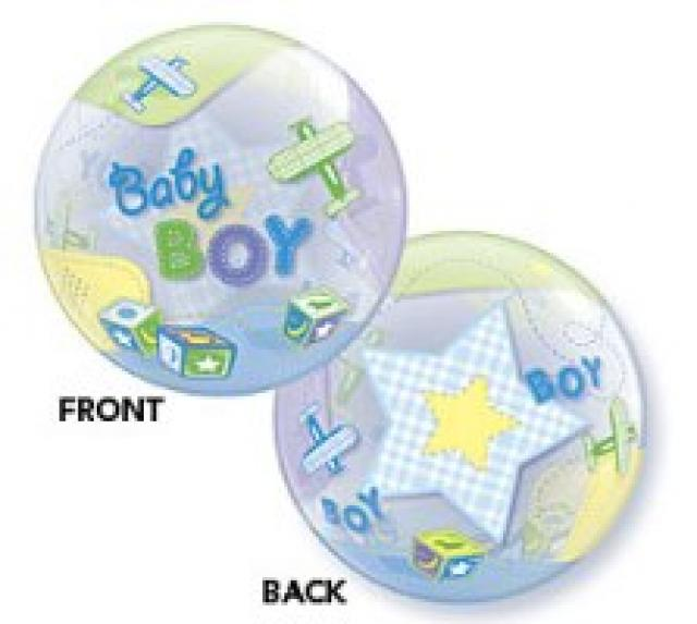 Add-On 22 Inch Helium Filled Round (BABY BOY AIRPLANES) Floating Bubble Balloon