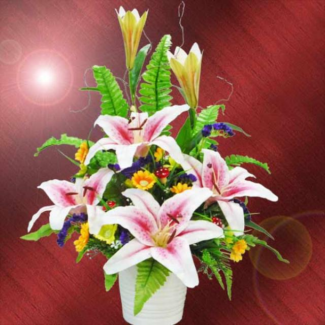 Artificial Pink Lilies Arrangement
