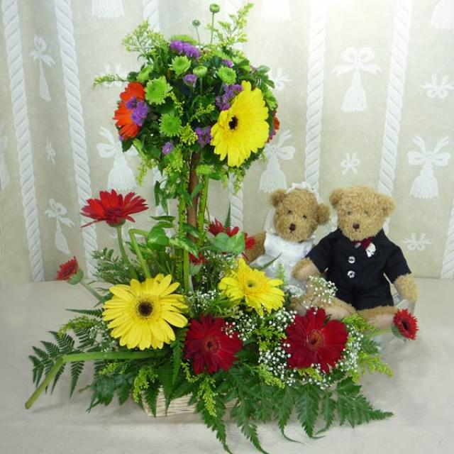 A Pair of 9 Inches Wedding Bears with Mixed Gerberas Arrangement in a basket