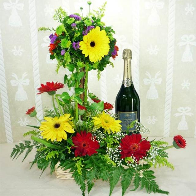 Mixed Gerberas Arrangement with Champagne (DZ DEUTZ BRUT CALSSIC NV (GIFT BOX) 75CL)