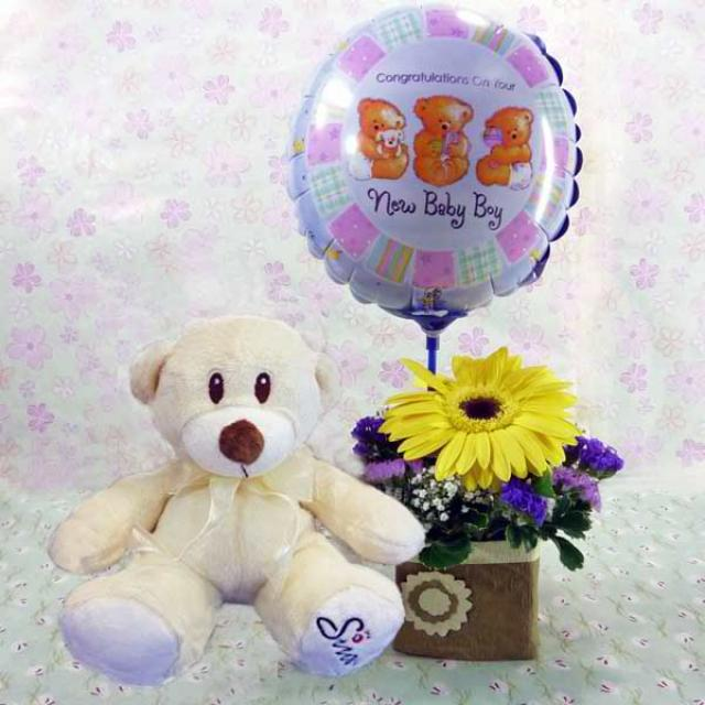 6 Inches Bear and a New Baby Boy Balloon with Yellow Gerbera Standing Bouquet