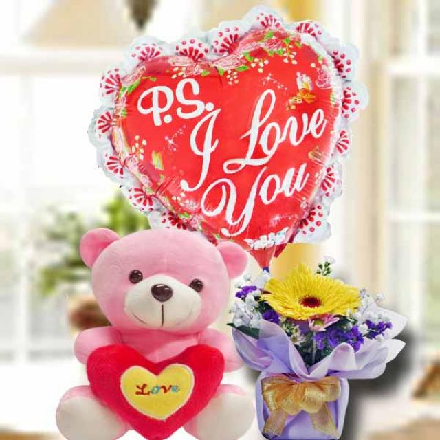 15cm Bear Soft Toy With Gerbera Standing Bouquet & i Love You Balloon
