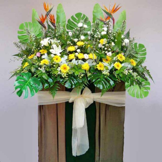Bird of paradize with lily, yellow chrysanthemum and Gerbera 5 feet height