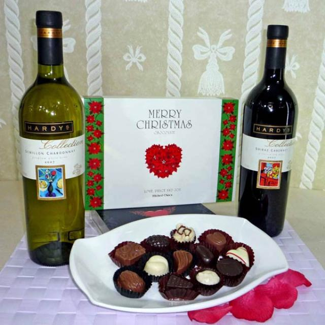 Australian wines ( 1 Red 1 White ) with Chocolate