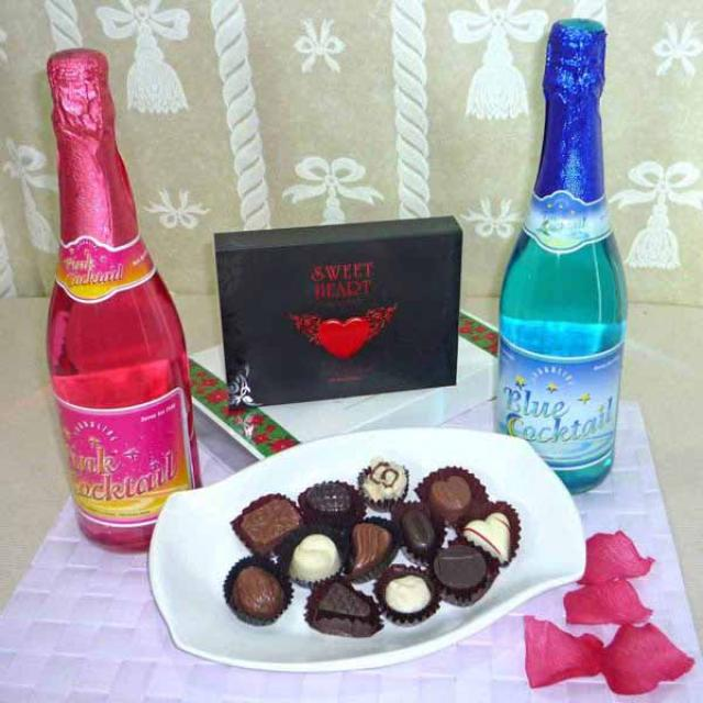 Pink and Blue Sparkling non-Alcoholic cocktail with 12 Pcs Exotic Assorted Chocolates