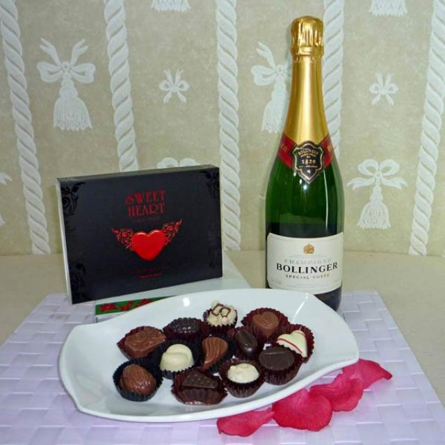 Bollinger Special Cuvee Brut Champagne with 12 Pcs Exotic Assorted Chocolates for your sweet Heart