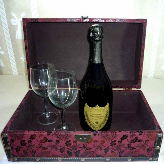 Dom Perignon Vintage (75cl) Champagne with Wine Glasses