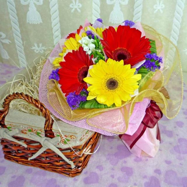 6 Mixed Color Gerberas & Forget-me-not Handbouquet with Organza Wrapping