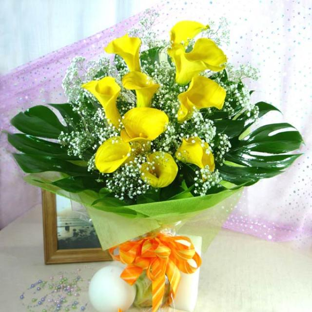 10 Cala Lily Yellow with Babybreath Handbouquet ( Need 1 day Advance order )