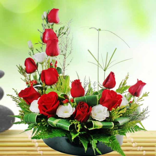 12 Red Roses Table Arrangement