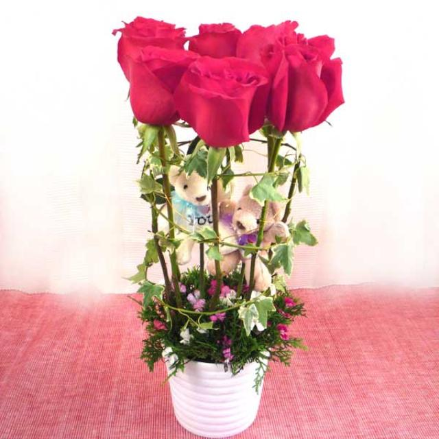 6 Red Roses with Couple Bear in Vase