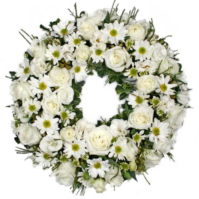 Wreath 16 inches With White Roses And PomPom (without stand)