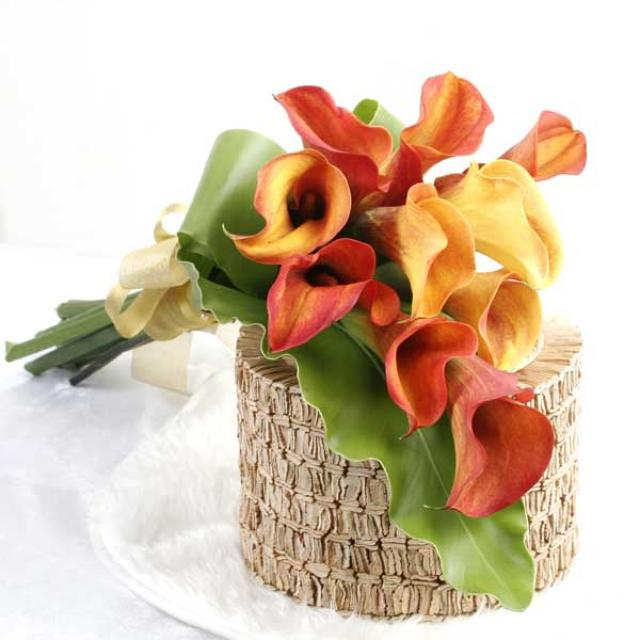 10 Orange Cala Lilies Handbouquet with Bird's Nest Fern