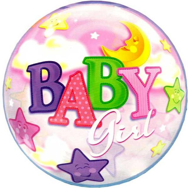 Add-On 22 Inch Helium Filled Round (BABY GIRL with stars) Floating Bubble Balloon