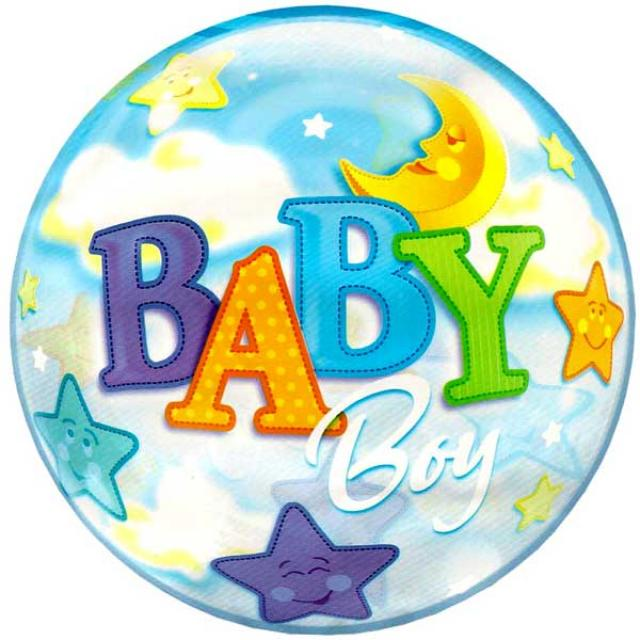Add-On 22 Inch Helium Filled Round (BABY BOY with stars) Floating Bubble Balloon